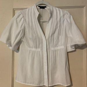 BCBG Maxazria white puff sleeve button up blouse